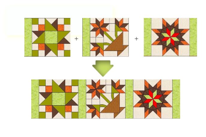 unir filas en bloques de patchwork